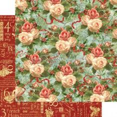 Лист бумаги Christmas Rose, 12 Days of Christmas, Graphic 45, 30 × 30 см, 4500724