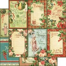 Лист бумаги Holly and Ivy, 12 Days of Christmas, Graphic 45, 30 × 30 см, 4500730