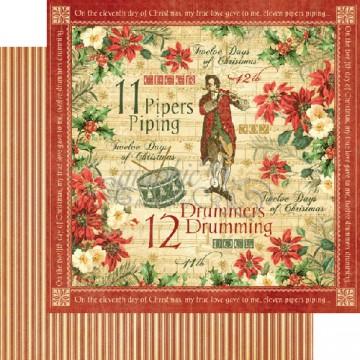 Купить Лист бумаги Drummers Drumming, 12 Days of Christmas, Graphic 45, 30 × 30 см, 4500731