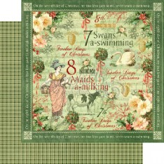Лист бумаги Swans a Swimming, 12 Days of Christmas, Graphic 45, 30 × 30 см, 4500727