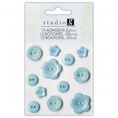 Пуговицы пластиковые, голубые, Hampton Art, VAC0403-2