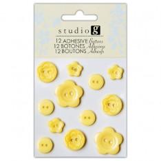 Пуговицы пластиковые, желтые, Hampton Art, VAC0403-4