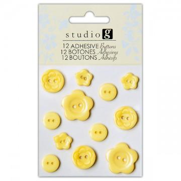 Купить Пуговицы пластиковые, желтые, Hampton Art, VAC0403-4