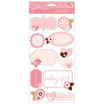 Купить Наклейки Baby Girl Accent & Phrase, Pebbles, 732360
