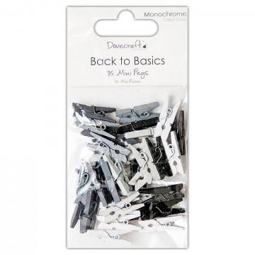 Купить Прищепки миниатюрные Back to Basics Monochrome, 35 шт, Dovecraft, DCPG002