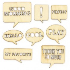 Деревянные фигурки Wood Veneer, Yearbook - Speech Bubbles, Studio Calico, 331155