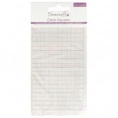 Прозрачные объемные клейкие квадратики Small Clear Adhesive Squares, Dovecraft, DCBS57