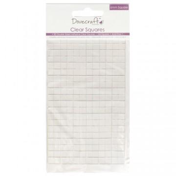 Купить Прозрачные объемные клейкие квадратики Small Clear Adhesive Squares, Dovecraft, DCBS57
