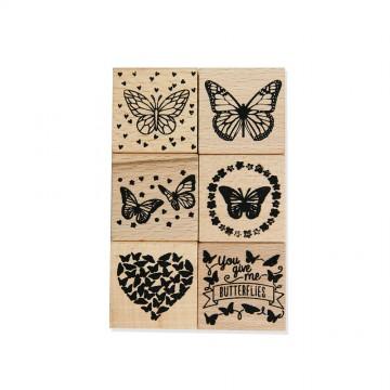 Купить набор резиновых штампов на деревянной основе Бабочки, Dovecraft, DCWDN029