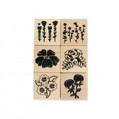 Набор резиновых штампов на деревянной основе Цветы, Dovecraft, DCWDN030
