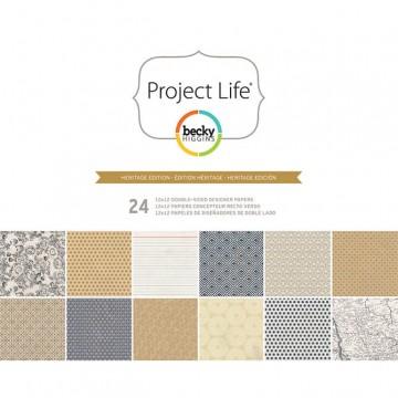 Купить Набор бумаги Heritage, Project Life, 30х30 см, American Crafts, 380178