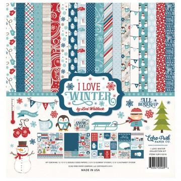 Купить набор бумаги I Love Winter, 30х30см, Echo Park, ILW115016
