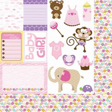 Купить Лист бумаги Cute Cuts, Baby Girl, Bella BLVD, 408