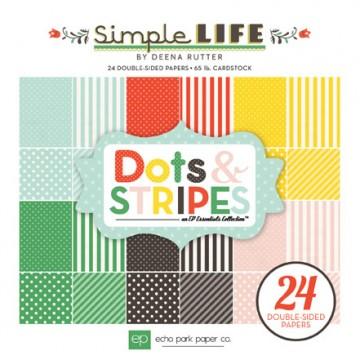 Купить Набор бумаги Simple Life Dots & Stripes, 15×15 см, Echo Park, SL68030