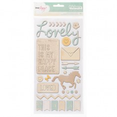 Наклейки Thickers Phrases – Lucky Charm – Trinket – Neutrals, American Crafts, 42392