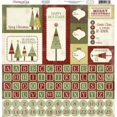 Наклейки Рождество Альфа, Carta Bella, 30х30 см, CBCD6012