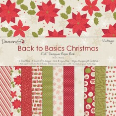Набор бумаги Back to Basics Christmas Traditional, 15 × 15 см, Dovecraft, DCXDP27