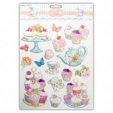 Наклейки с блестками Cupcake Boutique, Cakes, A4, Dovecraft, DCST047