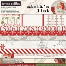 Набор бумаги Santa's List, 15х15 см, Teresa Collins, SL1010