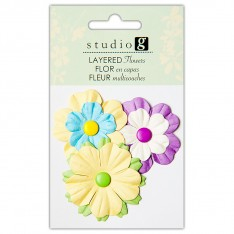 Цветы бумажные, Yellows, Hampton Art, VAC0402-2
