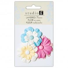 Цветы бумажные, Blues, Hampton Art, VAC0402-3