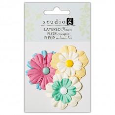 Цветы бумажные, Greens, Hampton Art, VAC0402-4