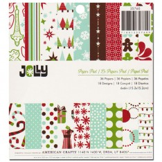 Набор бумаги Jolly, 15 × 15 см, American Crafts, 35760