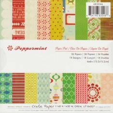 Набор бумаги Peppermint, 15 × 15 см, Crate Paper, 683046