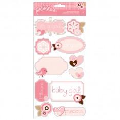 Наклейки Baby Girl Accent & Phrase, галька, 732360