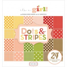 Набор бумаги It's a Girl Dots & Stripes, 15х15см, Carta Bella, CBIG51030