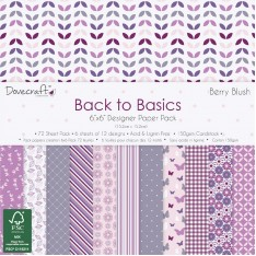 Набор бумаги Back To Basics Berry Blush, 15 × 15 см, Dovecraft, DCPAP030