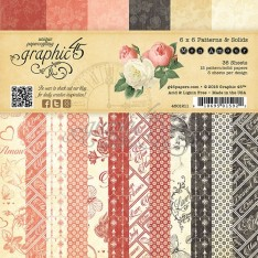Набор бумаги Mon Amour Patterns & Solids, 15х15 см, Graphic 45, 4501211